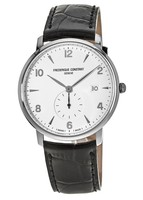 Frederique Constant Slimline  Silver Dial Black Leather Men's Watch FC-245SA5S6