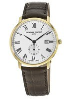 Frederique Constant Slimline  White Dial Brown Leather Men's Watch FC-245WR5S5