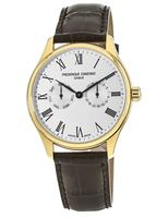 Frederique Constant Classic  Gold-Tone Silver Dial Brown Leather Men's Watch FC-259WR5B5