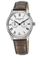 Frederique Constant Classic  Silver Dial Brown Leather Strap Men's Watch FC-259WR5B6DBR