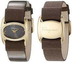 Salvatore Ferragamo Varina  Gold Tone Brown Dial Brown Leather & Grosgrain Women's Watch FIE050015
