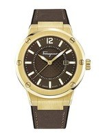 Salvatore Ferragamo F-80  Brown Dial Brown Leather Men's Watch FIF060016
