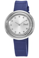 Piaget Possession  Silver Diamond Dial Blue Leather Strap Women's Watch G0A43090