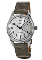 IWC Pilot's  Automatic 36mm Silver Dial Grey Alligator Strap Unisex Watch IW324007