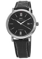 IWC Portofino Automatic Black Dial Leather Strap Men's Watch IW356502