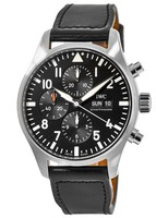 IWC Pilot's Chronograph Black Chronograph Day-Date Leather Strap Men's Watch IW377709