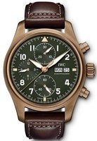 IWC Pilot's Spitfire Chronograph Green Dial Brown Leather Strap Men's Watch IW387902