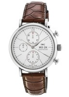 IWC Portofino Chronograph Silver Dial Brown Leather Strap Men's Watch IW391007