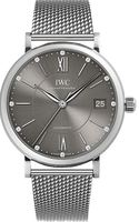 IWC Portofino Automatic Grey Diamond Dial Mesh Band Women's Watch IW458110