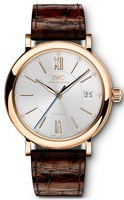 IWC Portofino Automatic 37 Silver Diamond Dial Brown Leather Strap Women's Watch IW458116