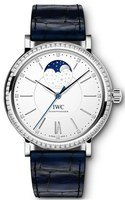 IWC Portofino Automatic Moon Phase 37 Silver Dial Blue Leather Strap Women's Watch IW459008
