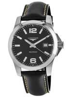 Longines Conquest Quartz Black Dial Black Leather Men's Watch L3.759.4.58.3