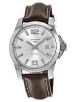 Longines Conquest Quartz Silver Dial Brown Leather Men's Watch L3.759.4.76.5