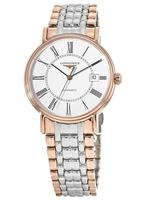 Longines Presence  White Dial Rose Gold and Stainless Steel Men's Watch L4.921.1.11.7