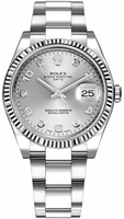 Rolex Oyster Perpetual Date  34 Silver Diamond Dial Men's Watch M115234-0012