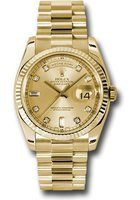 Rolex Day-Date  Champagne Diamond Dial Unisex Watch M118238-0116