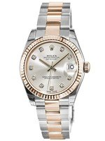 Rolex Datejust 31  Silver Diamond Dial, Steel and 18k Everose Gold Women's Watch M178271-0046