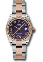 Rolex Datejust 31  Purple Dial Steel and Everose Gold Diamond Women's Watch M178341-0011