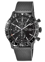 Breitling Chronoliner  Black Chronograph Dial Black Steel Mesh Band Men's Watch M2431013/BF02-159M