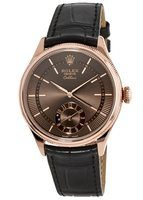 Rolex Cellini Dual Time 18k Rose Gold Brown Dial Men's Watch M50525-0015