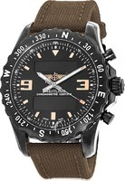 Breitling Professional Chronospace Military Blacksteel Edition on Military Green Strap Men's Watch M7836622/BD39-105W