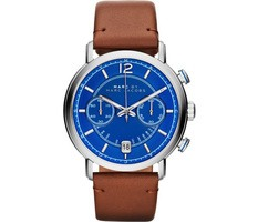 Marc By Marc Jacobs   Fergus Blue Chronograph Dial Camel Leather Strap Men's Watch MBM5066