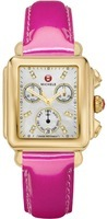 Michele Deco Signature Gold Tone Mother of Pearl Dial Pink Patent Leather Women's Watch MWW06P000133