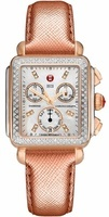 Michele Deco Diamond Two Tone Rose Gold Saffiano Women's Watch MWW06P000233