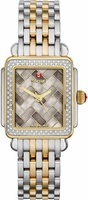 Michele Deco Diamond Two Tone Cocoa Mosaic Women's Watch MWW06V000083