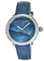 Michele Serein Diamond Teal Gradient Dial Blue Lizard Strap Women's Watch MWW21A000058