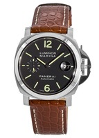 Panerai Luminor Marina Black Dial Brown Leather Men's Watch PAM00048