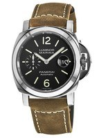 Panerai Luminor Marina  Automatic Acciaio 44mm Black Dial Brown Leather Strap Men's Watch PAM01104