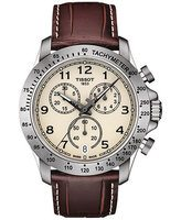 Tissot V8 Quartz Chronograph Ivory Dial Brown Leather Men's Watch T106.417.16.262.00