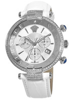 Versace   White Diamond Leather Strap Women's Watch VAJ100016