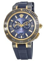 Versace V-Extreme  Gold-Tone Blue Dial Rubber Strap Men's Watch VCN010017