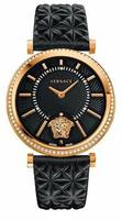 Versace V-Helix  Rose Gold Tone Diamond Bezel Black Leather Strap Women's Watch VQG050015