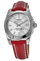 Breitling Galactic 36 SleekT Mother of Pearl Dial Red Leather Strap Women's Watch W7433012/A779-214X