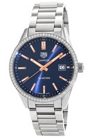 Tag Heuer Carrera Quartz 39mm Blue Stick Dial Diamond Bezel Stainless Steel Women's Watch WAR1114.BA0601