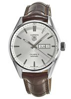 Tag Heuer Carrera Calibre 5 Day-Date Automatic Silver Dial Crocodile Strap Men's Watch WAR201B.FC6291