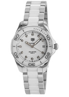 Tag Heuer Aquaracer Lady 300M 35MM White Ceramic & Steel Diamond Dial Women's Watch WAY131D.BA0914