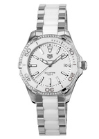Tag Heuer Aquaracer Lady 300M 35MM White Ceramic Diamond Bezel Women's Watch WAY131H.BA0914