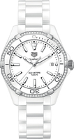 Tag Heuer Aquaracer Lady 300M 35MM White Ceramic Diamond Women's Watch WAY1396.BH0717