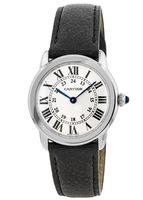Cartier Ronde Solo Quartz Black Leather Strap Women's Watch WSRN0019