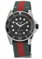 Gucci Dive  Black Dial Green and Red Nylon Men's Watch YA136209
