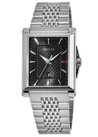 Gucci G-Timeless  Rectangle Black Dial Steel Men's Watch YA138401