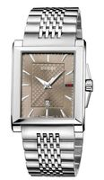 Gucci G-Timeless  Rectangle Brown Dial Stainless Steel Men's Watch YA138402