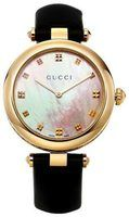 Gucci Diamantissima  Mother of Pearl Dial Black Leather Strap Women's Watch YA141404