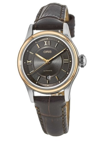 Oris Classic Date Grey Dial Brown Leather Women's Watch 01 561 7718 4373-07 5 14 32