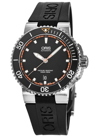 Oris Aquis Date Black Dial Black Rubber Men's Watch 01 733 7653 4128-07 4 26 34EB
