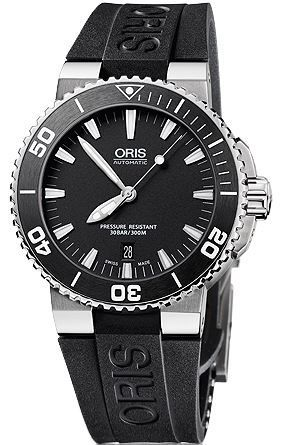 Oris Aquis Carlos Coste Black Dial Black Rubber Men's Watch 01 733 7653 4154-07 4 26 34EB